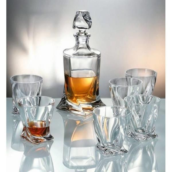 Crystalite Bohemia Quadro whisky set 1+6 Bohemia